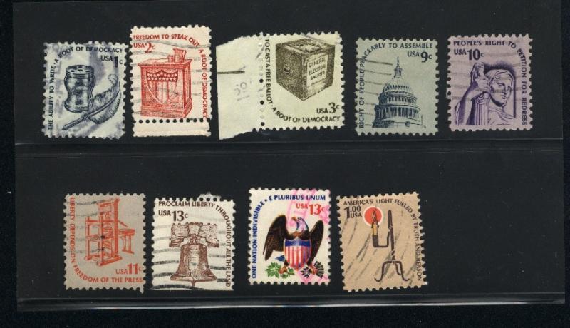 USA #1581, 82, 83, 91, 92, 95, 96, 1610  used  PD .50