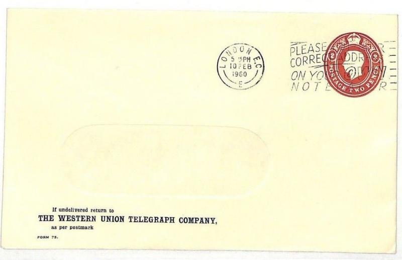 AD5 1960 GB LATE USE KGVI *Western Union Telegraph* Stationery Window Envelope