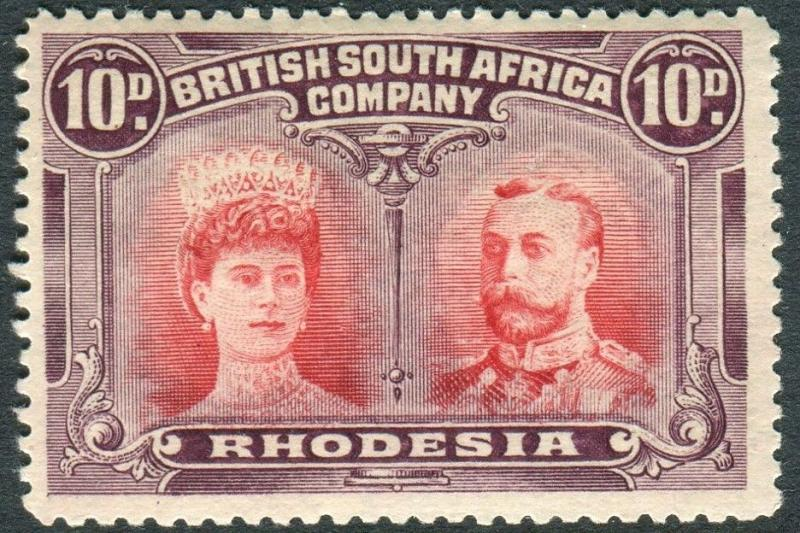 RHODESIA-1910-13 10d Scarlet & Reddish Mauve very mounted mint example Sg 149