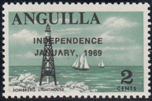 Anguilla 1969 MNH Sc #54 Overprint on 2c Sombrero lighthouse Variety