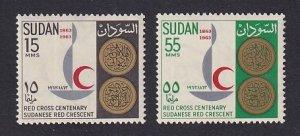 Sudan  #162-163   MNH  1963   centenary Red Cross