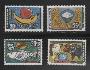 AUSTRALIA Scott 519-522  MH* 1972 Food stamp set