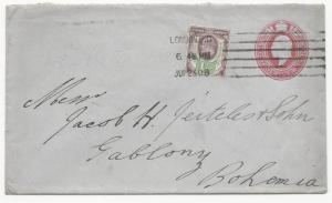 Great Britain Scott 129 on H&G #29 Postal Stationery Cover London July 23, 1906