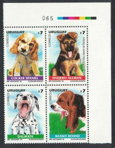 Uruguay Dogs Corner Block of 4 with Traffic Lights SG#2557-2560