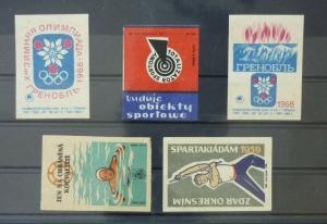 Match Box Labels ! sport olimpic games swimming GN3