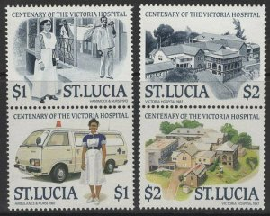 ST.LUCIA SG959/62 1987 CENTENARY OF VICTORIA HOSPITAL MNH