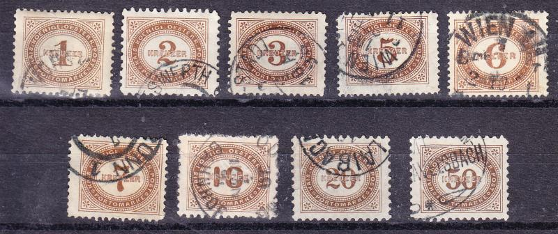Austria 1894-5 First Postage Due set Complete (9) VF/used(o)
