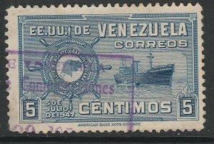 Venezuela 1948-50 5c used South America A4P53F51