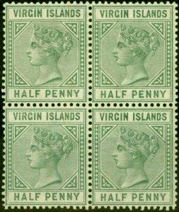 Virgin Islands 1883 1/2d Dull Green SG27 Fine MNH Block of 4
