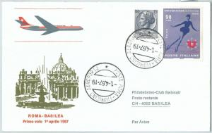 72129 - ITALY - Postal History - FIRST FLIGHT:  Rome - Basel 1967  Swissair