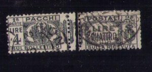 ITALY Scott #Q34 Back of Book used Complete Pair Seperated Center F-VF