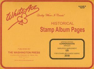 WHITE ACE 2018 US Commemorative Singles Simplified Stamp Album Supplement US NEW