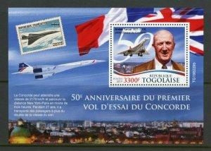 TOGO 2019 50th ANNIVERSARY OF THE FIRST CONCORDE FLIGHT SOUVENIR SHEET MINT NH