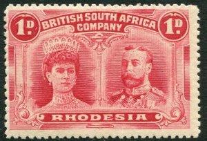 RHODESIA-1910-13 1d Bright Carmine Double Head Sg 123 LIGHTLY MOUNTED MINT
