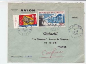 senegal to france 1970 air mail stamps  cover  ref r16046