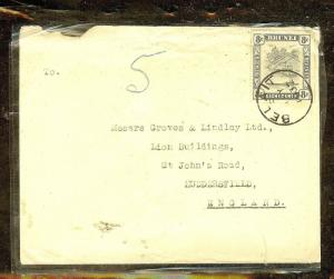 BRUNEI (P1106B) 1937   8C BLACK  BL SINGLE FRANK ON COVER TO ENGLAND