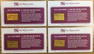 #1791-1794 Westport U.S. Olympic 1980 Commemorative - 23 karat gold stamps