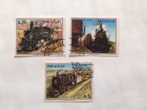 "Paraguay–1986–Set of 3 ""Train"" Air Post Stamps–SC# C646-C648–CTO"