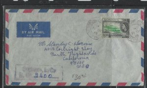 DOMINICA COVER (P1902B) 1963 QEII $1.20 REG COVER FROM  SOUFRIERE TO USA