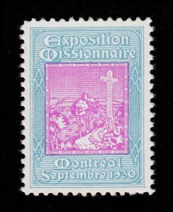 CANADA POSTER STAMP EXPOSITION MISSIONNAIRE MONTREAL 1930 MNH-OG