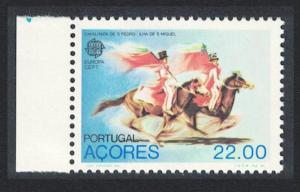Azores Europa Horses Folklore Left Margins From Sheet SG#425