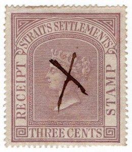 (I.B) Malaya (Straits Settlements) Revenue : Receipt 3c (1869)