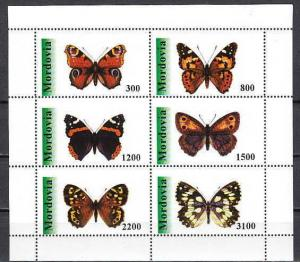 Mordovia, 180-185 Russian Local. Butterflies sheet of 6.