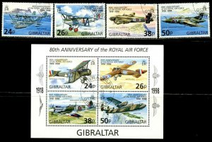 GIBRALTAR Sc#755-759 1998 Royal Air Force Complete Set & S/S Used