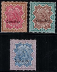 Zanzibar 1895-1896 SC 14-16 H/LH CV $325.00
