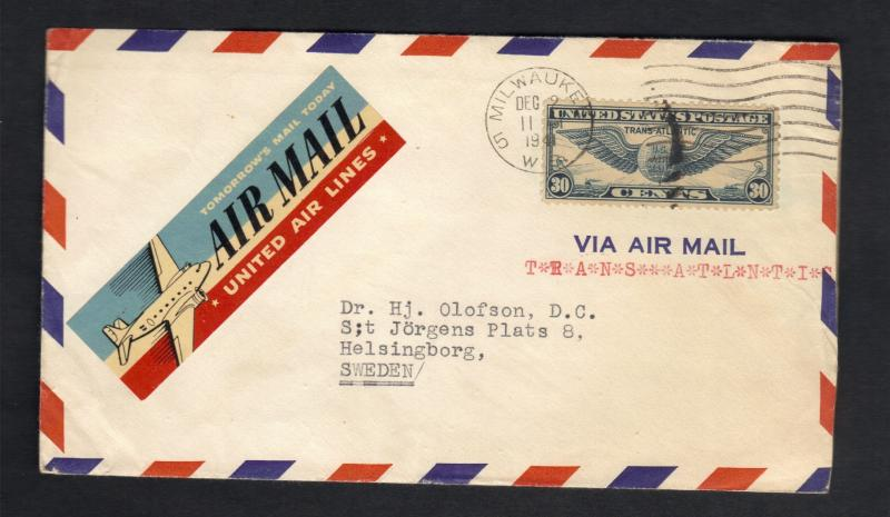 1941-US Postal Cover-Air Mail Sc# C24(AP16) From Milwaukee To Sweden Xtra Fine