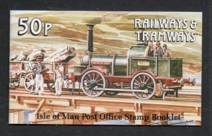 Isle of Man Sc 356a  b pane in complete 50p train stamp booklet mint NH