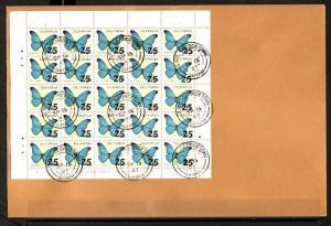 Guyana, Scott cat. 1812. Butterflies Revalued sheet of 25. First day cover.