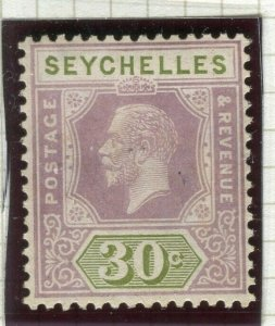 SEYCHELLES; 1921 early GV issue fine Mint hinged Shade of 30c. value