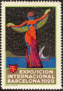 SALE Stamp Label Spain Exposition 1929 Poster Cinderella Barcelona MNH