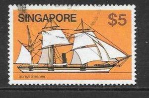 SINGAPORE SG376 1980 $10 SHIPS FINE USED