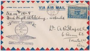 USA #650 Dec. 14, 1929 First Flight Cover St. Petersburg to Atlanta VF