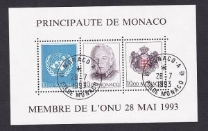 Monaco  #1863  cancelled 1993  sheet  admission to the UN