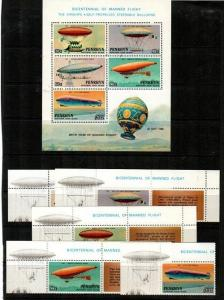 Penrhyn Island Scott 255-9,259a Mint NH (Catalog Value $19.00)