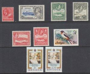 Antigua Sc 46//585 MLH. 1926-80 issues, 7 singles + 1 cplt set