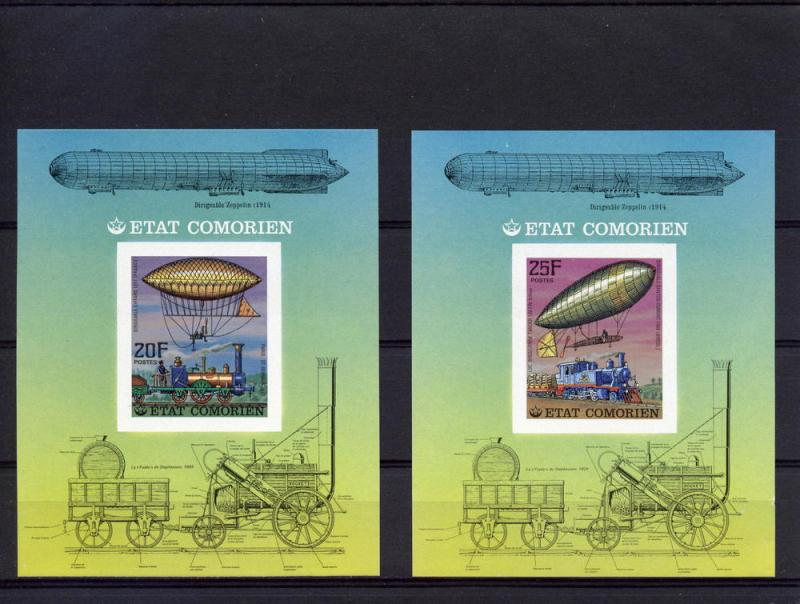 Comoro 1977  Trains/Zeppelins 6 SS Imperforated MNH Mi # Bl.84/89B