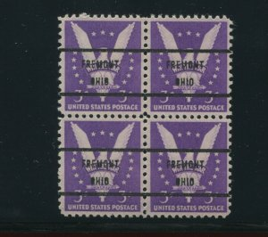 905b RARE REDDISH PURPLE FREMONT OHIO PRECANCEL Used Block of 4 Stamps PSE Cert!