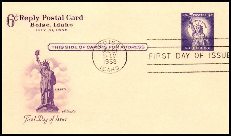 US UY17 Statue of Liberty Artmaster Postal Reply Card U/A FDC