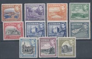 CYPRUS 1938 KGVI PICTORIAL RANGE TO 18 PI