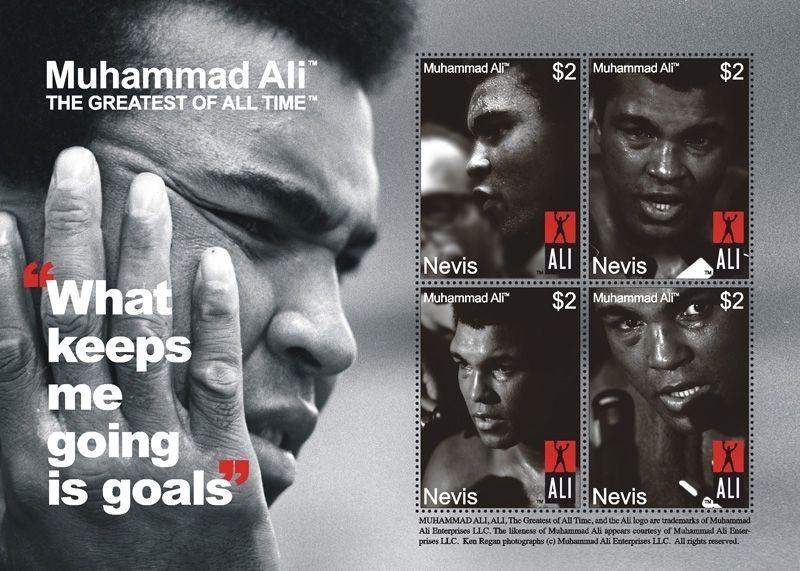 2008 MUHAMMAD ALI - BOXER - 2 POSTAGE STAMP SHEETS FROM - NEVIS