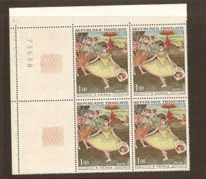 FRANCE STAMPS MNH -PAINTINGS 1970 PLATE BLOCK LOT#299