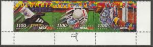 COLOMBIA C905, SOCCER WORLD CUP - FRANCE. STRIP OF 3. MINT, NH. F-VF. (564)
