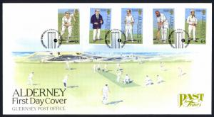 Alderney Sc# 101-105 FDC 1997 Past Times Cricket