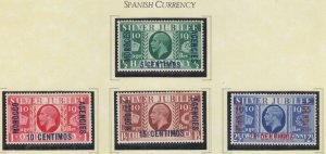 MOROCCO AGENCIES, SPANISH CURRENCY, 1935 Silver Jubilee set of 4, heavy hinged.