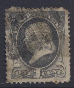 USA - Scott 182 - Franklin - Used - 1879 - Perf.12 - Dark Ultra -1c Stamp
