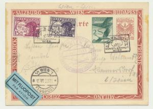 AUSTRIA 1933 WIPA EXPO ROUND TRIP GLIDER FLIGHT CARD FLOWN 4 COUNTRIES(SEE BELOW